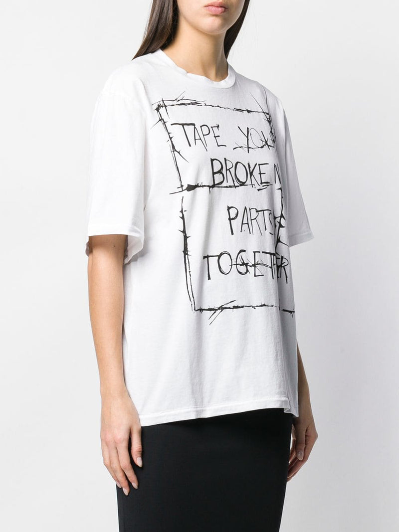 Haider Ackermann Tape Your Broken Parts Printed Graphic Tee