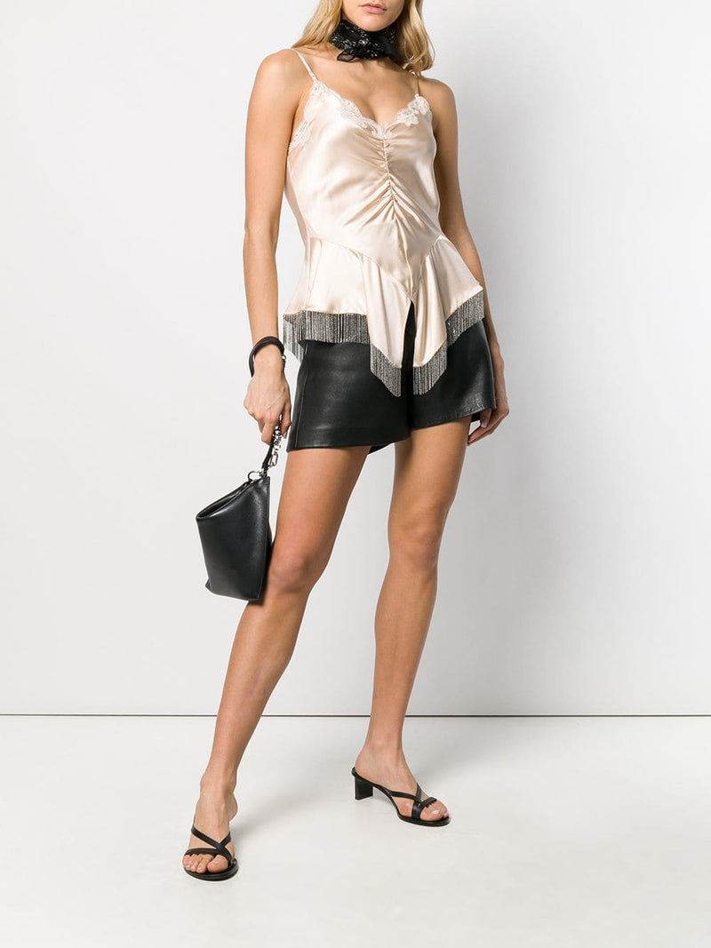 Alexander Wang Cami Top w/Micro Ball chain Fringe