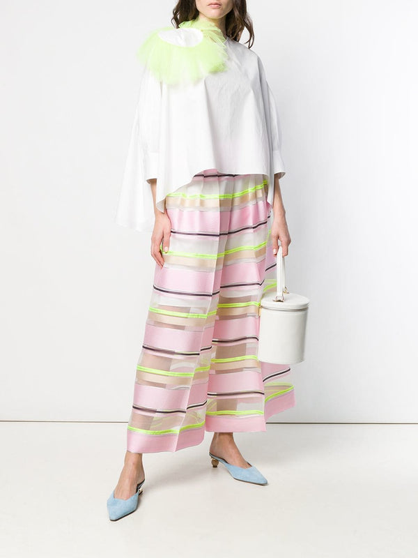 Delpozo Wide Leg Striped Organza Pants
