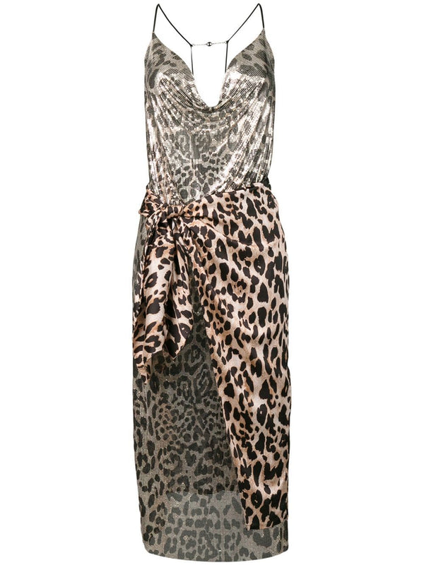 Paco Rabanne Leopard Wrap Skirt Dress