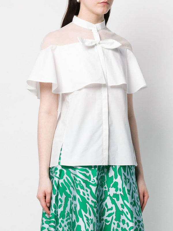 Delpozo White Blouse w/Tulle Sleeves
