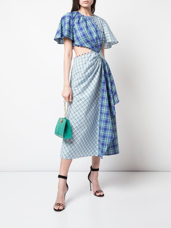 Prabal Gurung Plaid Flutter Sleeve Asymmetric Cutout Dress