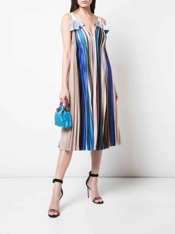 Prabal Gurung V-Neck Pleated Dress