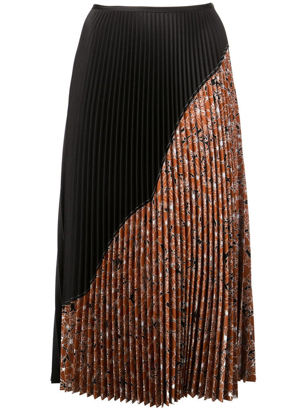 Cedric Charlier Pleated Half Print Skirt