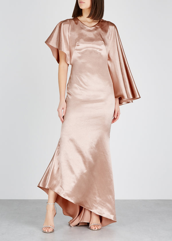 Osman Minellie Draped Gown w/ Asymmetric Sleeves