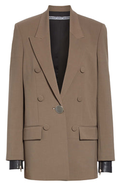 Alexander Wang Oversized Blazer with Leather Sleeves