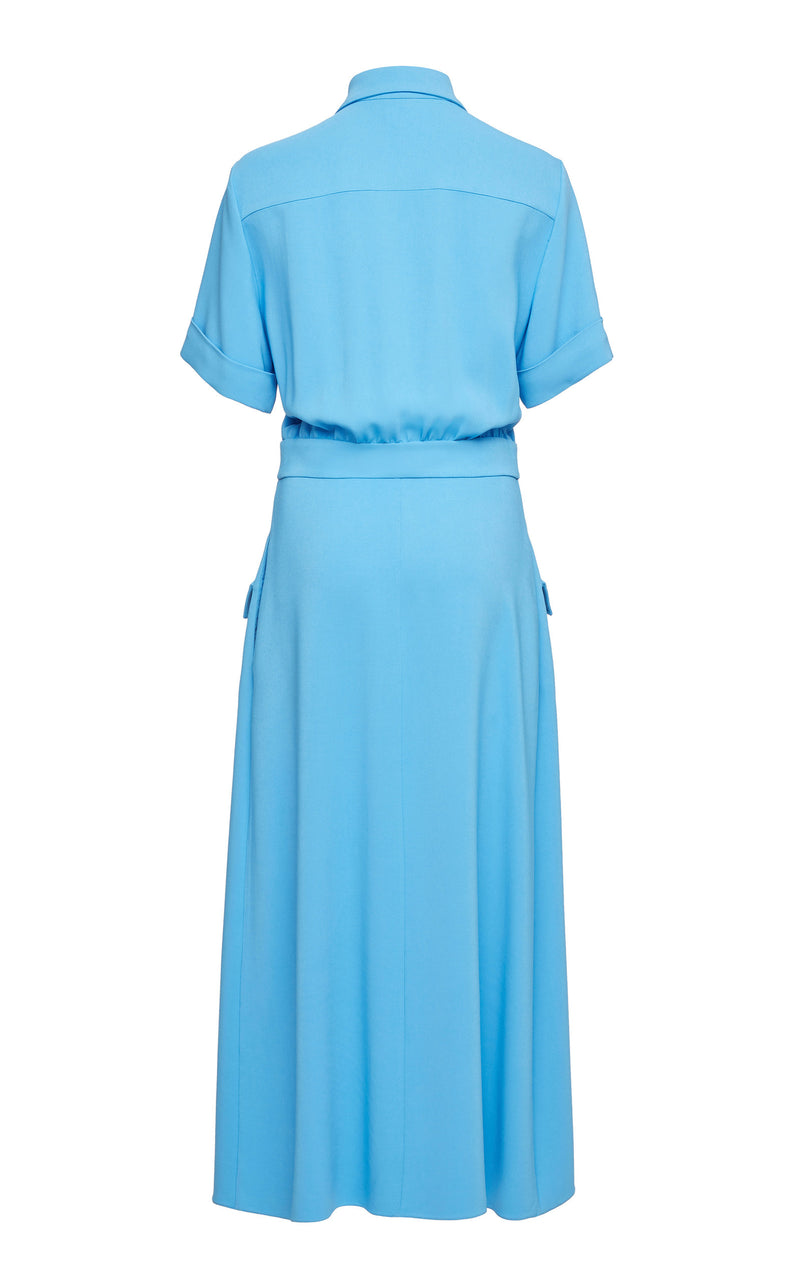 Rochas Short Sleeve Stretch Crepe Onachom Shirtdress