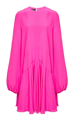 Rochas Orditu Long Sleeve Pink Silk Crepe Mini Dress