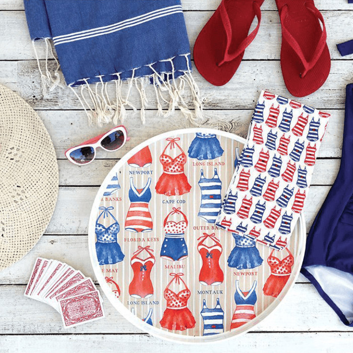 red, white, and blue serving tray, kitchen towel, and beach towel for 4th of July party decor ideas