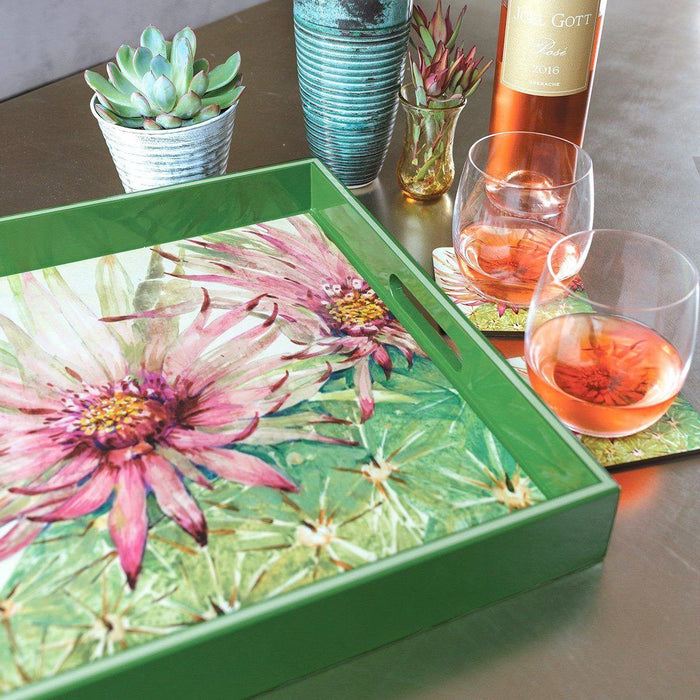 great mother's day gift ideas, like a floral lacquer serving tray and beautiful coasters