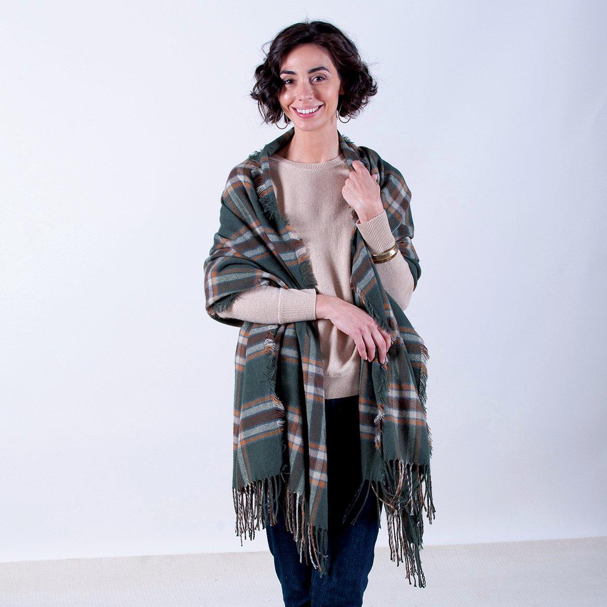 Loden Green/Brown Plaid Wrap Blanket Scarf