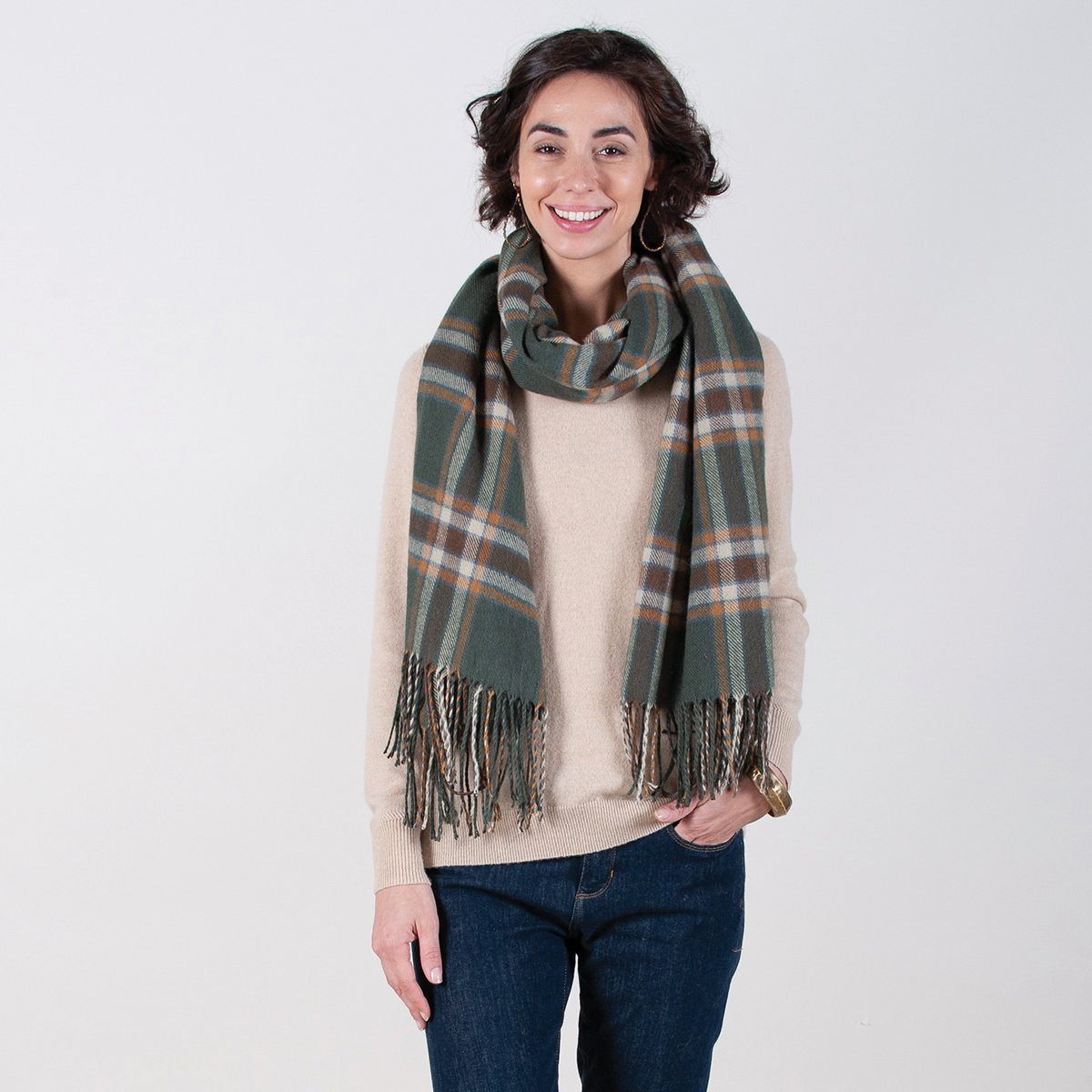 Loden Green/Brown Plaid Wrap Blanket Scarf - rockflowerpaper LLC