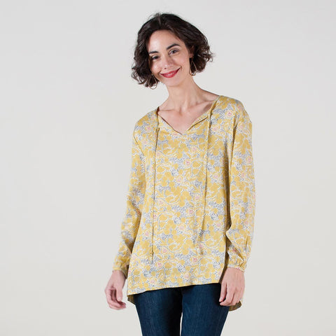 Chia Yellow Peasant Top - rockflowerpaper LLC