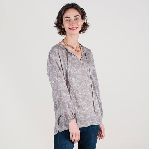 Willa Charcoal/Grey Printed Peasant Blouse - rockflowerpaper LLC