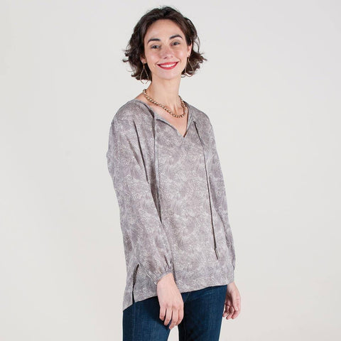 a8c3281d8c Willa Charcoal Grey Printed Peasant Blouse