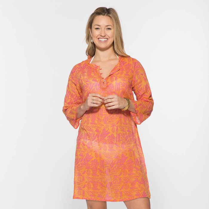 Tropics Pink Cotton Beach Coverup Tunic - rockflowerpaper LLC
