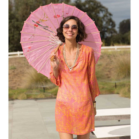 Tropics Pink Cotton Beach Coverup Tunic