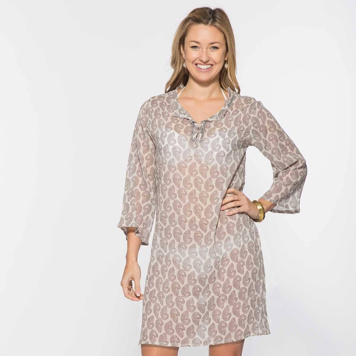 Nautilus Grey Cotton Beach Coverup Tunic