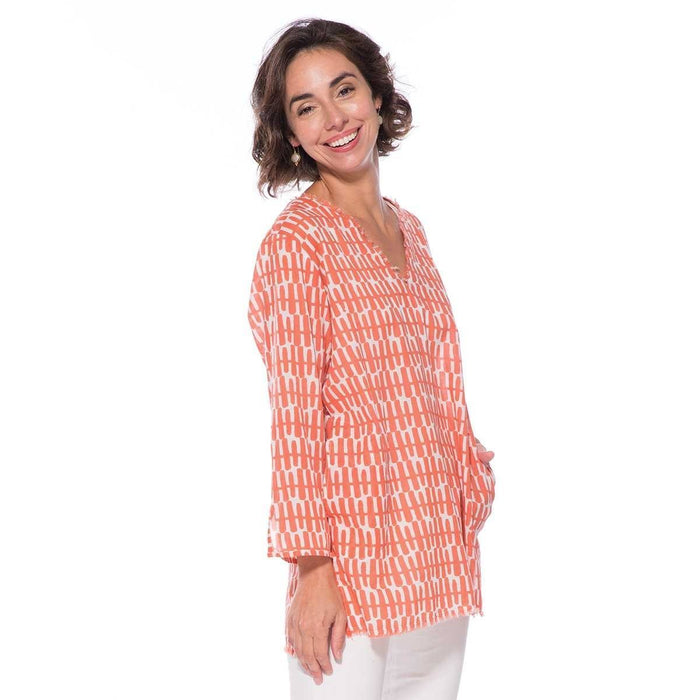 Rita Coral Cotton Pocket Tunic - rockflowerpaper LLC