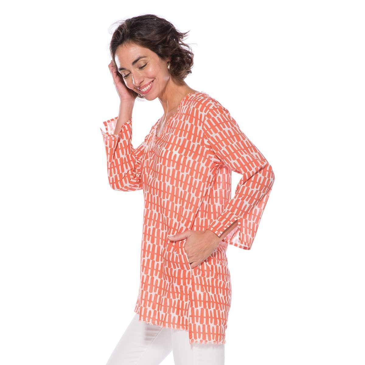 Rita Coral Cotton Pocket Tunic