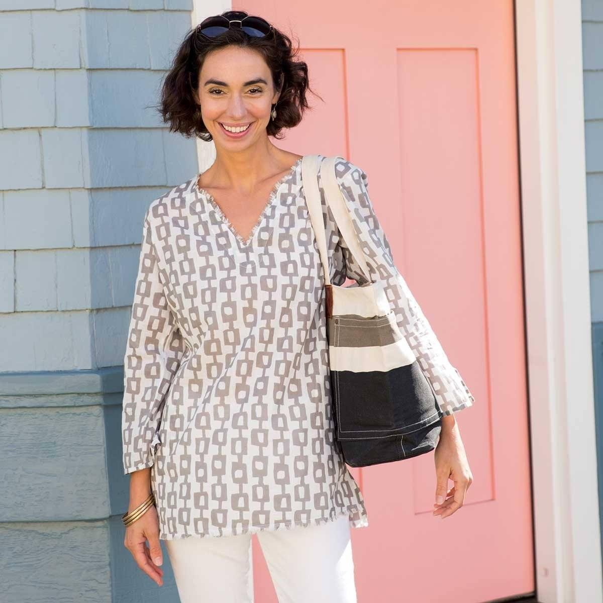 Valerie Grey Cotton Pocket Tunic