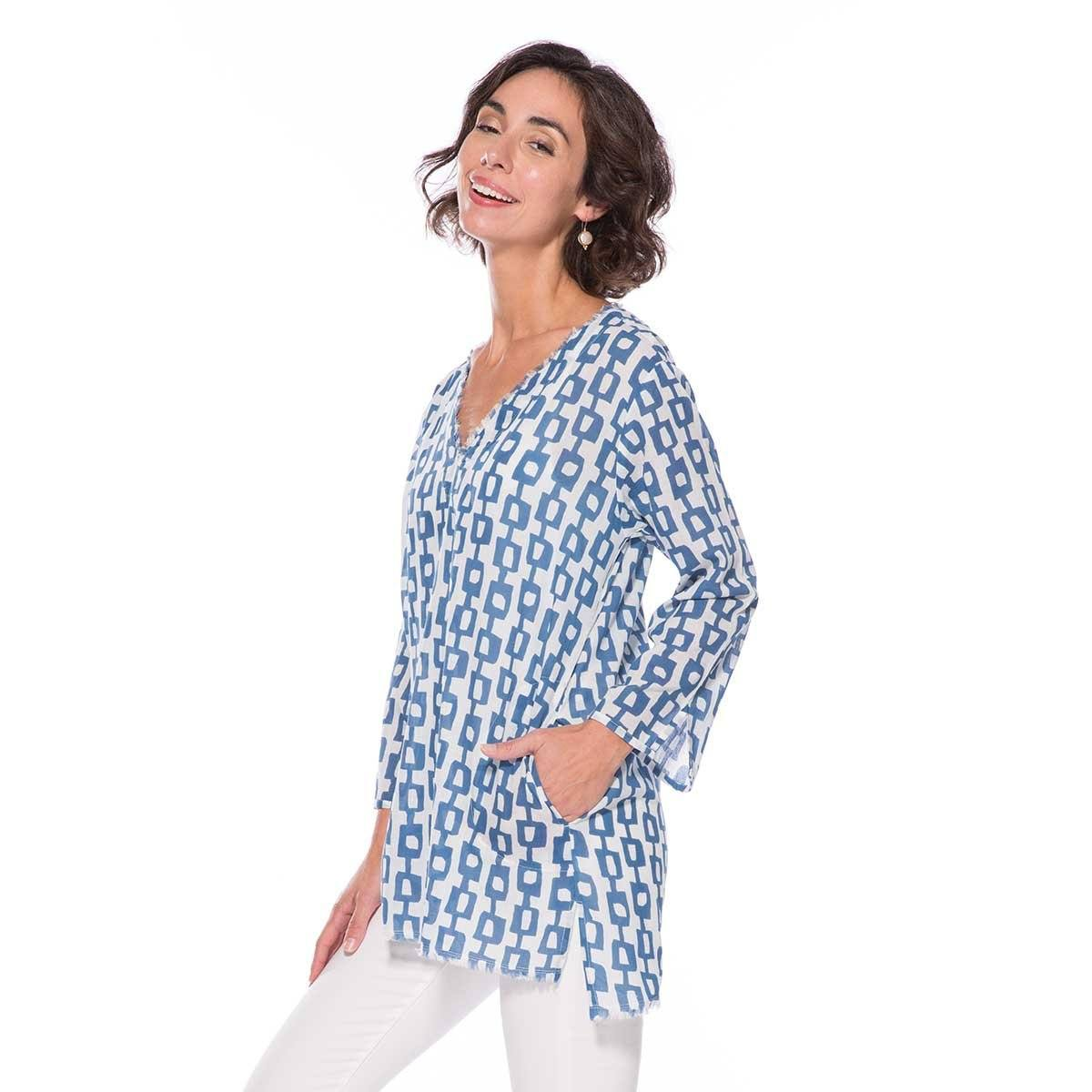 Valerie Blue Cotton Pocket Tunic