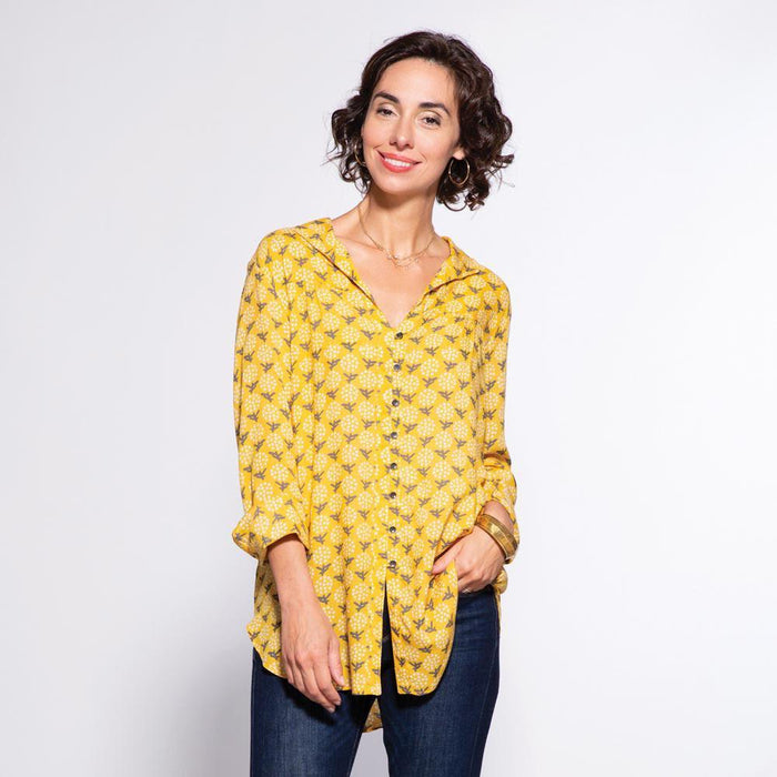 Eliza Gold Ayana Relaxed Collar Button Down Tunic - rockflowerpaper LLC