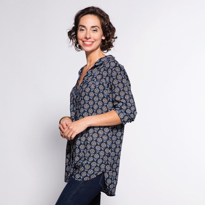Eliza Black And Blue Ayana Relaxed Collar Button Down Tunic - rockflowerpaper LLC