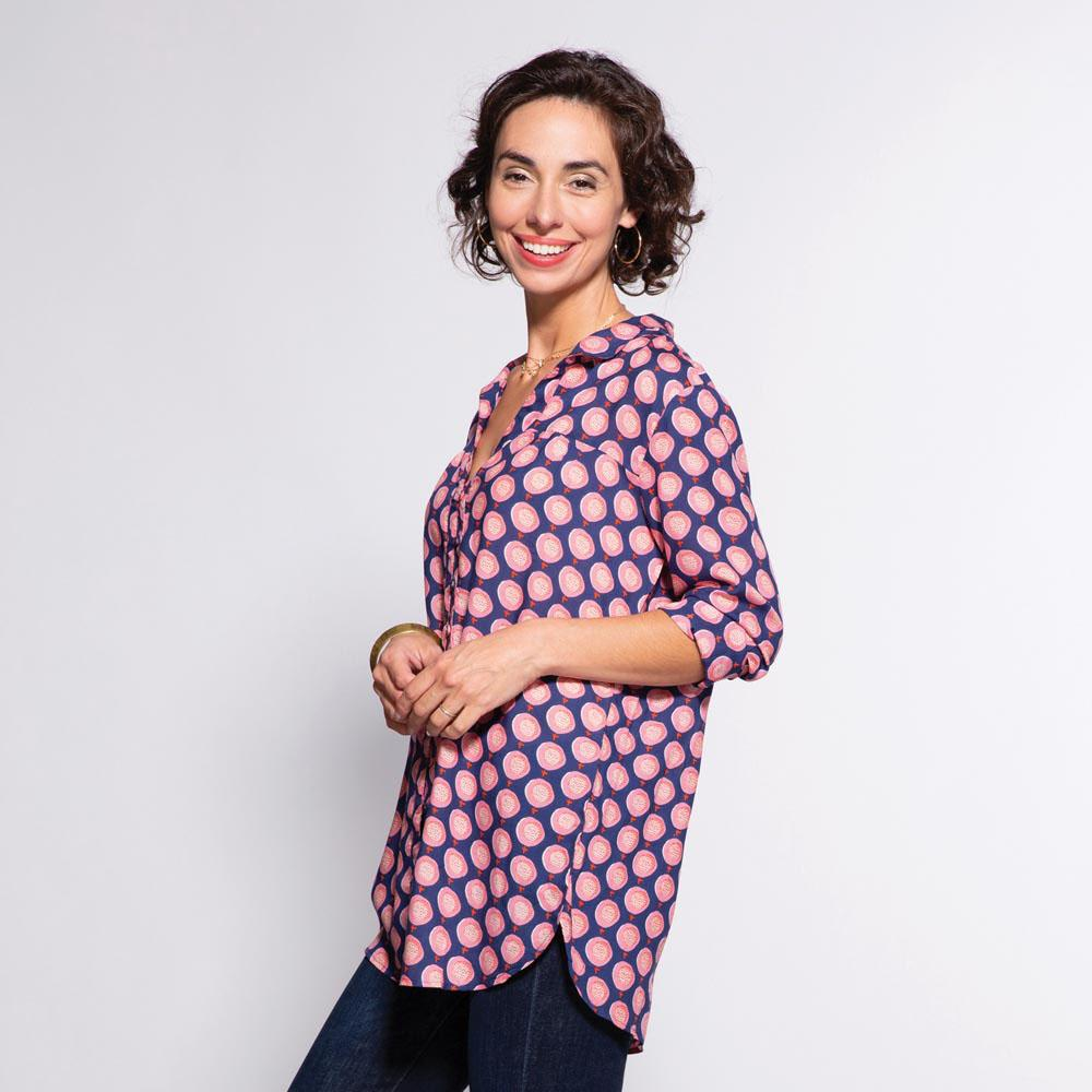 Juliana Navy Ayana Relaxed Collar Button Down Tunic