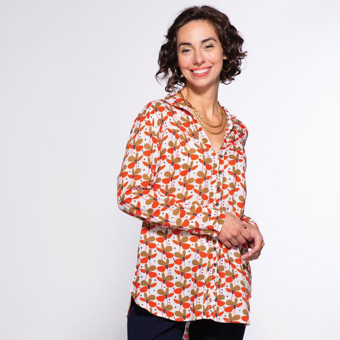 Kamila Tan Ayana Relaxed Collar Button Down Tunic - rockflowerpaper LLC