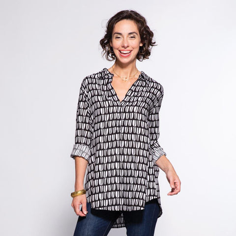 Kona Black And White Pippa Collared Tunic