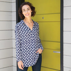 Lillian Navy And White Pippa Collared Tunic