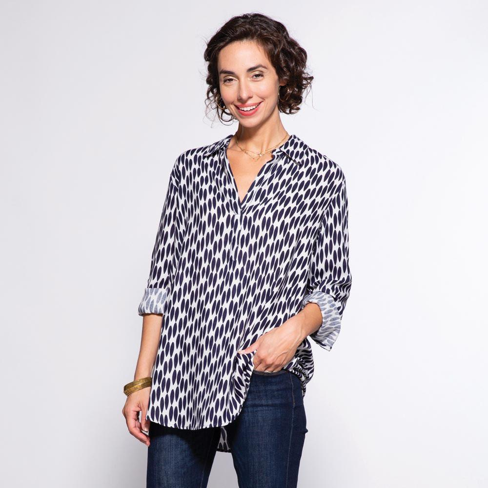 Lillian Navy And White Pippa Collared Tunic - rockflowerpaper LLC