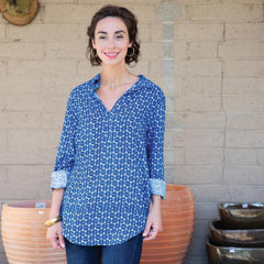 Aria Blue And White Pippa Collared Tunic