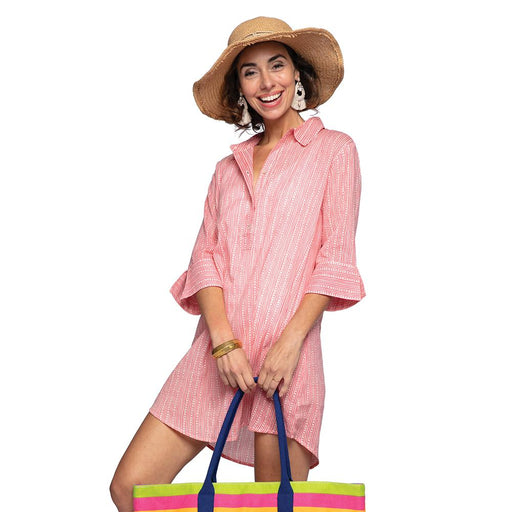 Adaline Pink blu Cotton Beach Shirt - rockflowerpaper LLC