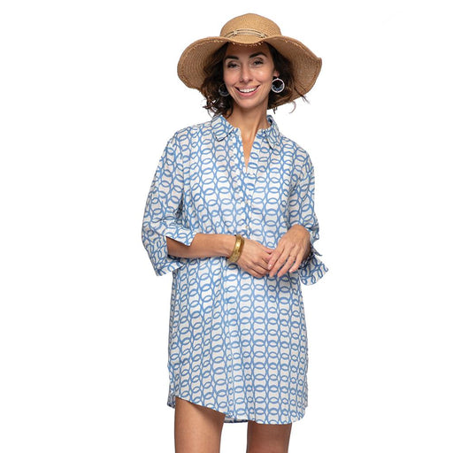 Bianca Blue blu Cotton Beach Shirt - rockflowerpaper LLC
