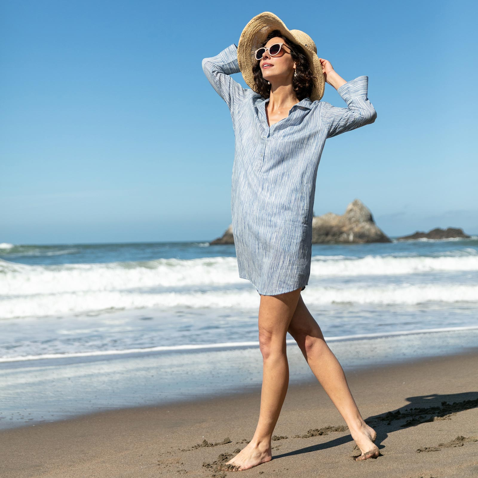 Suri Navy blu Cotton Beach Shirt