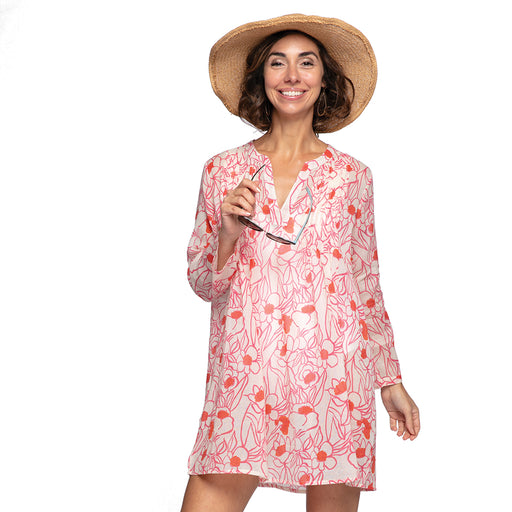 Rosalie Pink blu Cotton Pintuck Beach Coverup - rockflowerpaper LLC