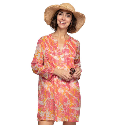 Katarina Pink blu Cotton Pintuck Beach Coverup - rockflowerpaper LLC