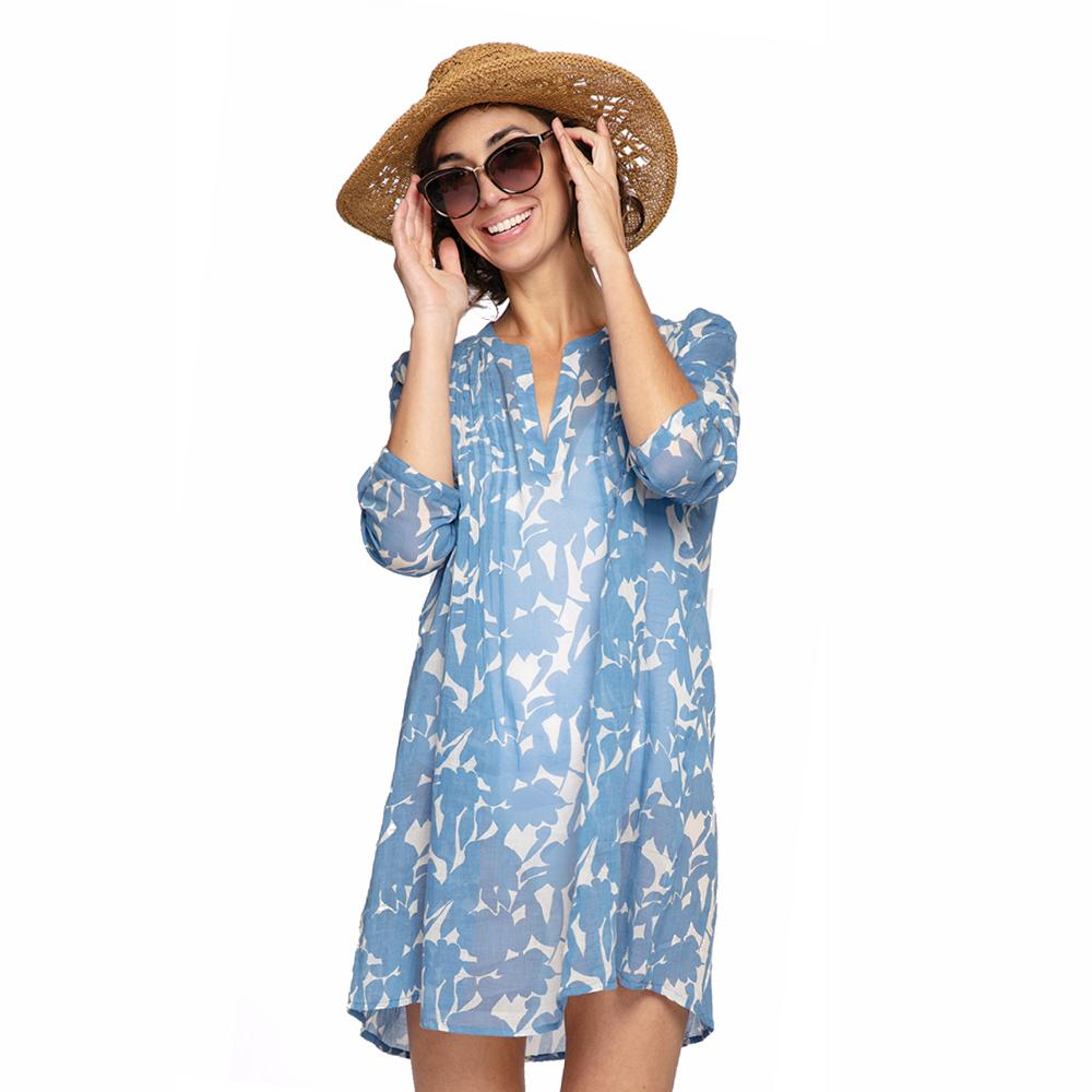 Floella Blue blu Cotton Pintuck Beach Coverup - rockflowerpaper LLC