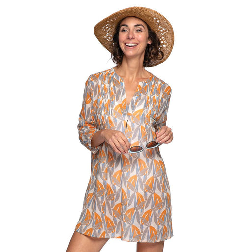 Lilith Gray blu Cotton Pintuck Beach Coverup - rockflowerpaper LLC