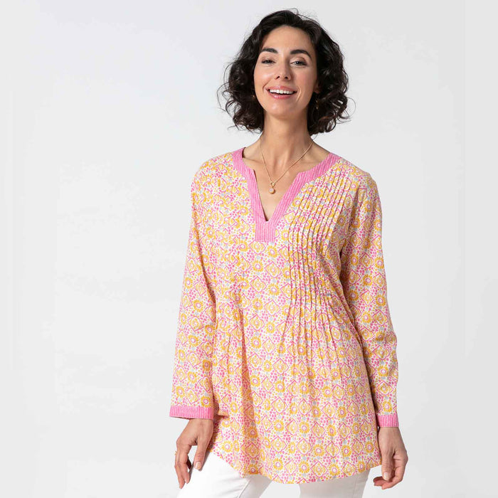 Arabella Pink bluCotton Pintuck Blouse