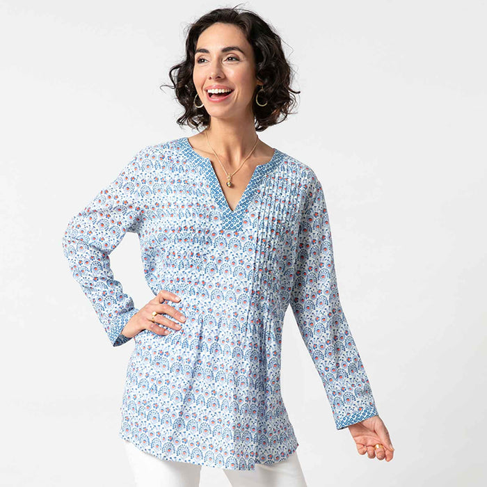 Abigail Blue bluCotton Pintuck Blouse