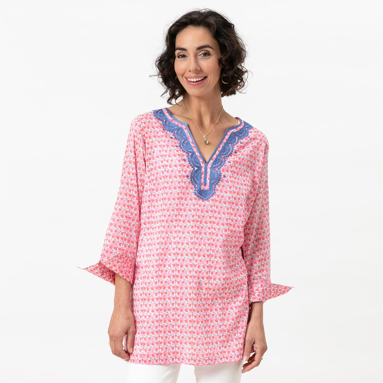 Elle Pink blu Cotton Embroidered Kurta