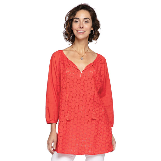 Solid Red Eyelet Peasant Top - rockflowerpaper LLC
