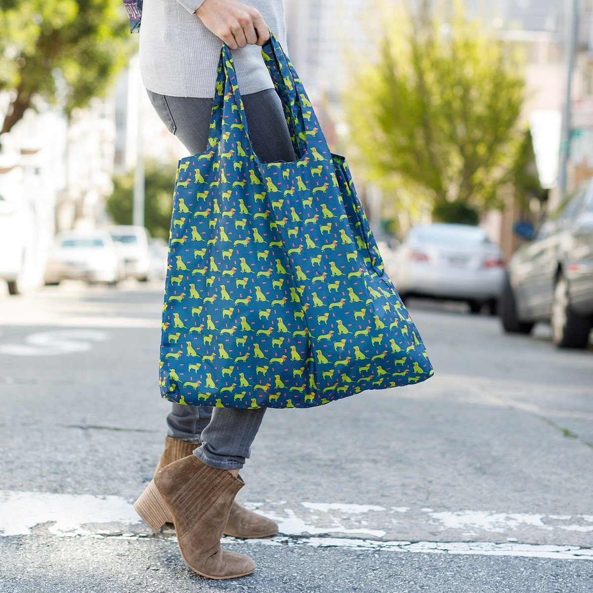 Dog Pack Navy Blu Bag Reusable Shopping Bag - rockflowerpaper LLC