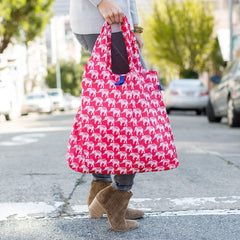 Elephant Pink Blu Bag Reusable Shopping Bag - rockflowerpaper LLC