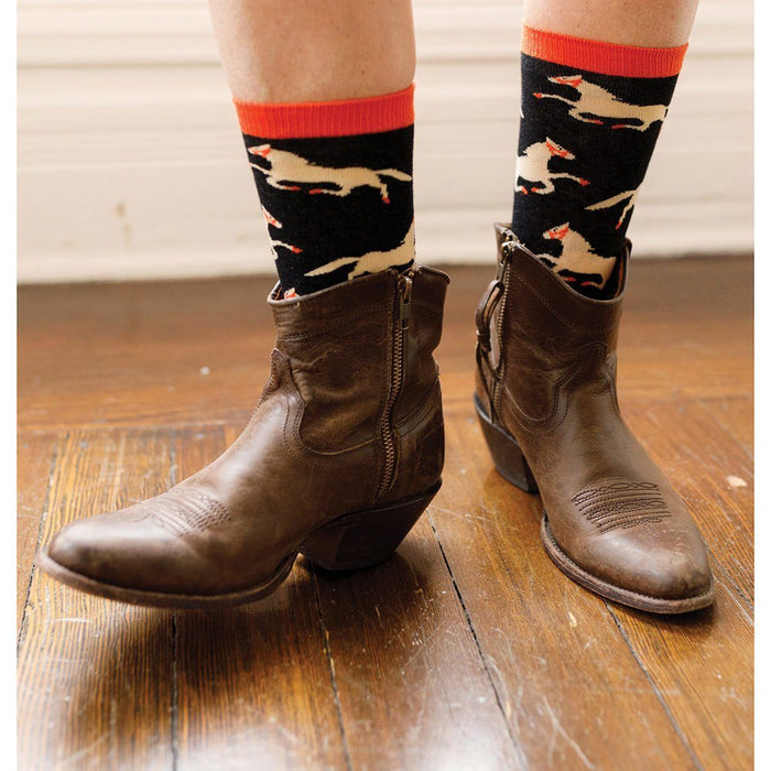 Pony Black Pair of Crew Length Socks - rockflowerpaper LLC