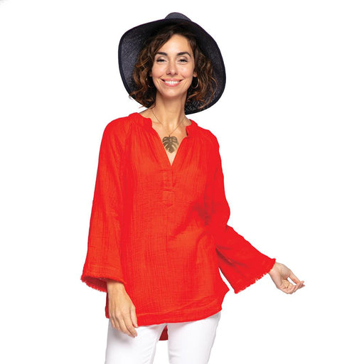 Solid Red Crinkle Tunic - rockflowerpaper LLC