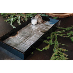 Tree Slab 10 x 20 inch Rectangular Lacquer Art Serving Tray
